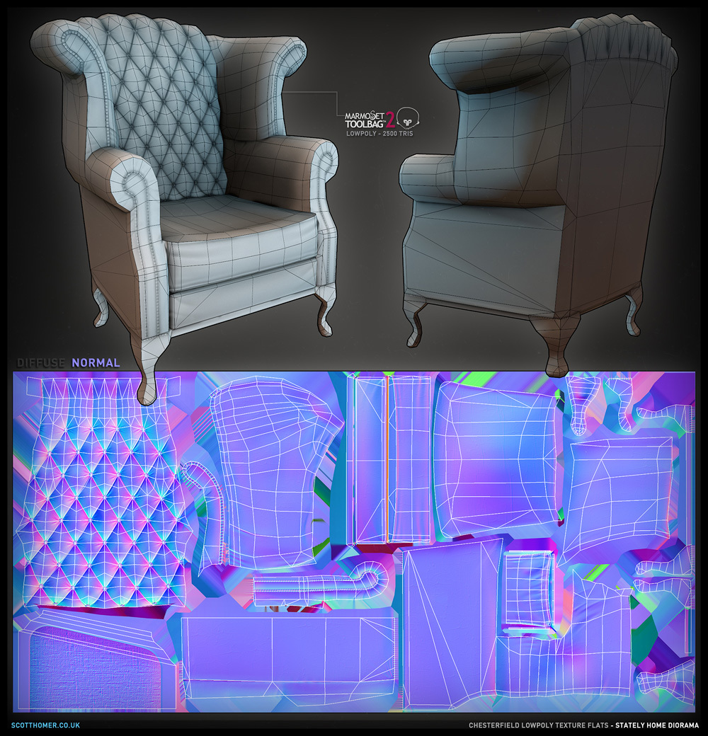 Ao Lowpoly With Normal Map Highpoly Chesterfield Sofa