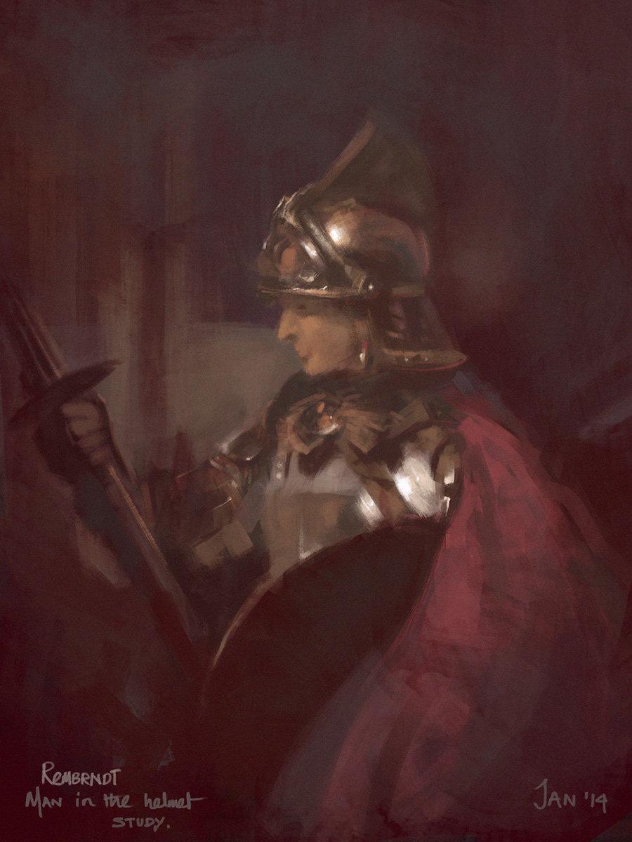 Man in helmet rembradnt