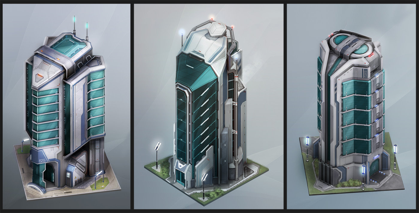 Artstation anno 2070 tech buildings tobias frank - Build house plans online free concept ...