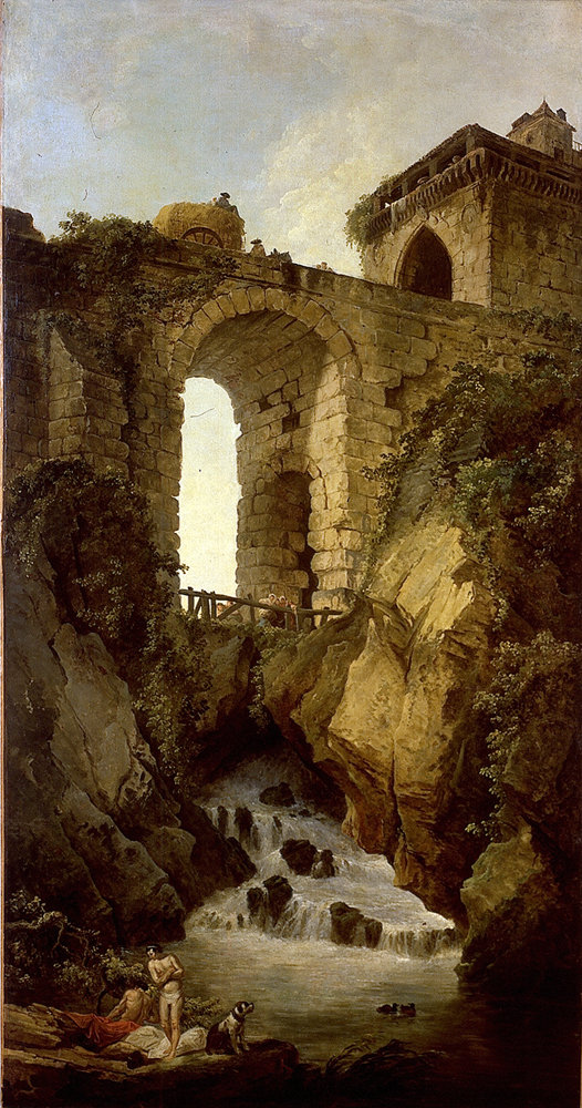 The original painting by Hubert Robert titled Le Grand Pont ou le Torrent.