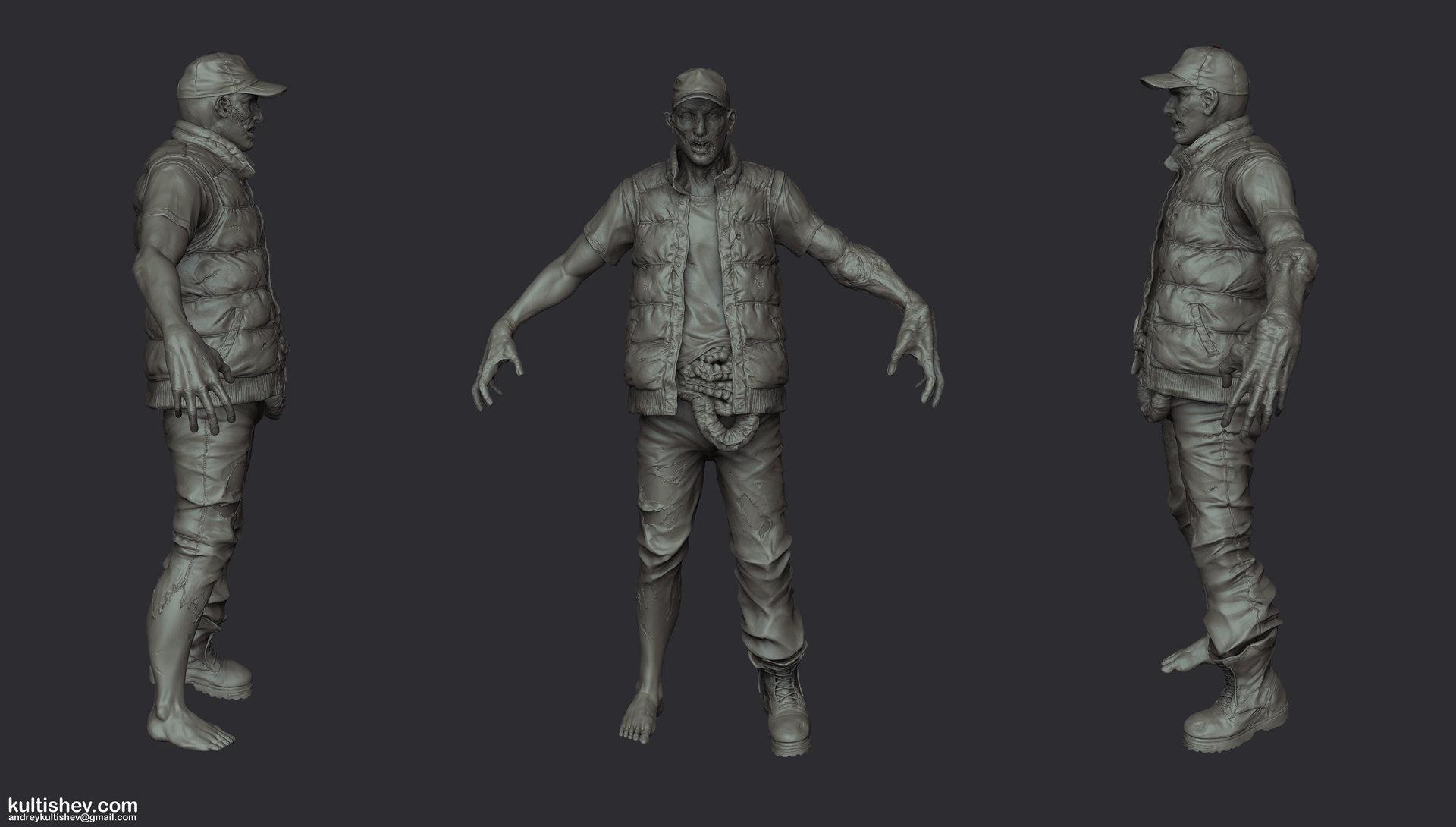 Andrey kultishev kultishev zombie sculpt02