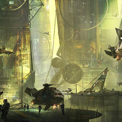 Florent llamas futuristic city