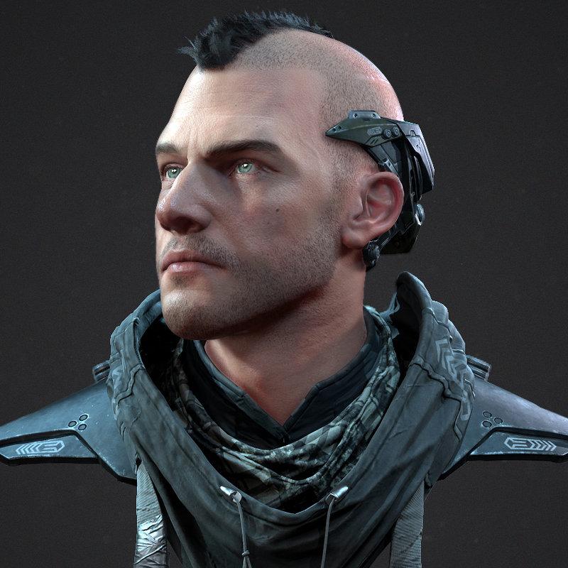 Cyberpunk Character Bust
