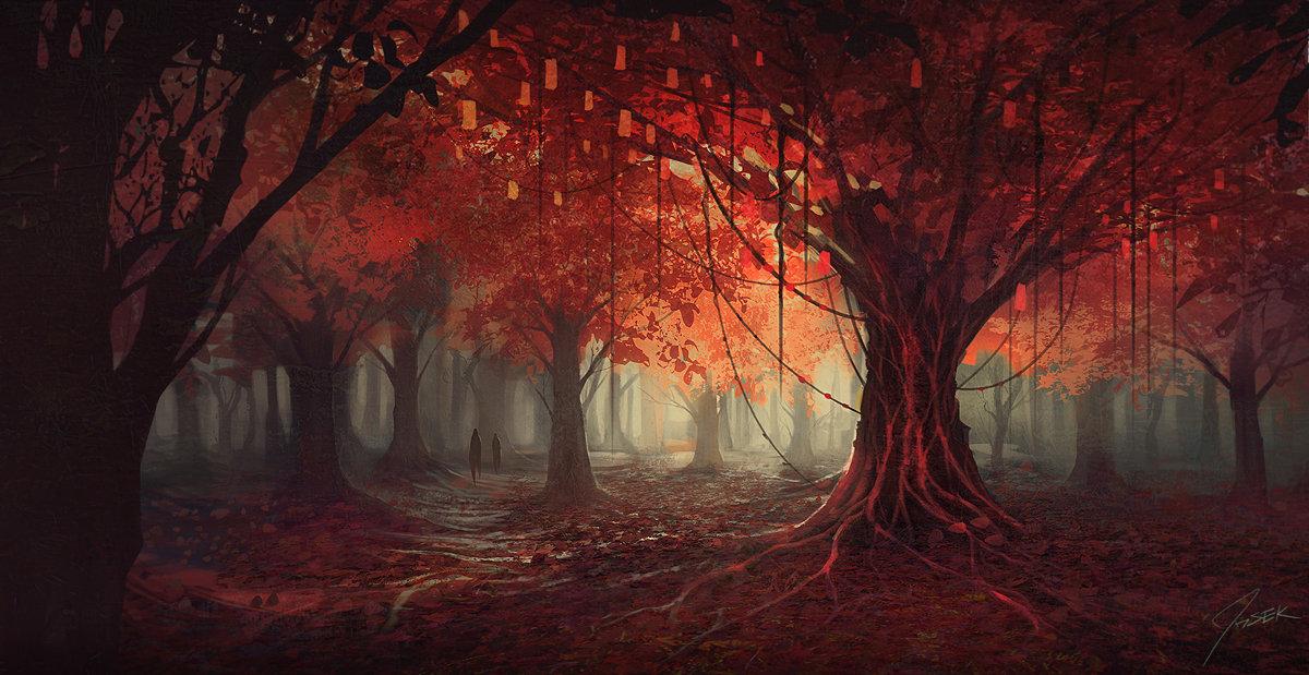 красный лес рисунок последствий непогоды массово