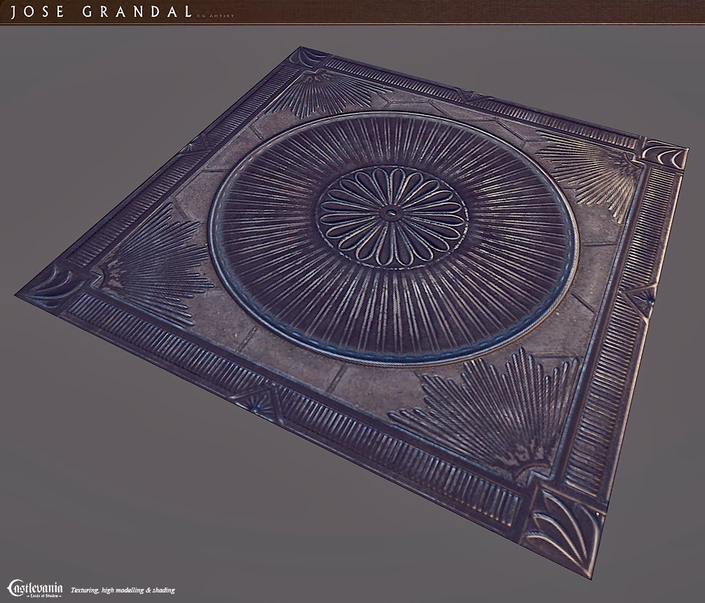 The process of texturing here: http://jgrandal.blogspot.com.es/2014/02/castlevania-lords-of-shadow-2-room-floor.html