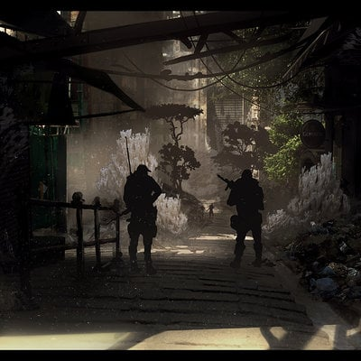 Travis lacey travis lacey concept art design back alley sci fi white overgrown mold web