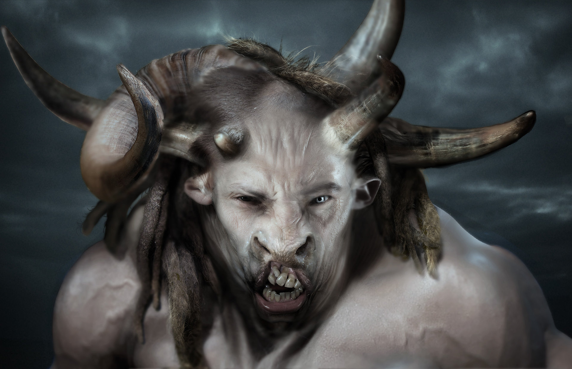 Minotaur main head design, done for Wrath of the Titans
