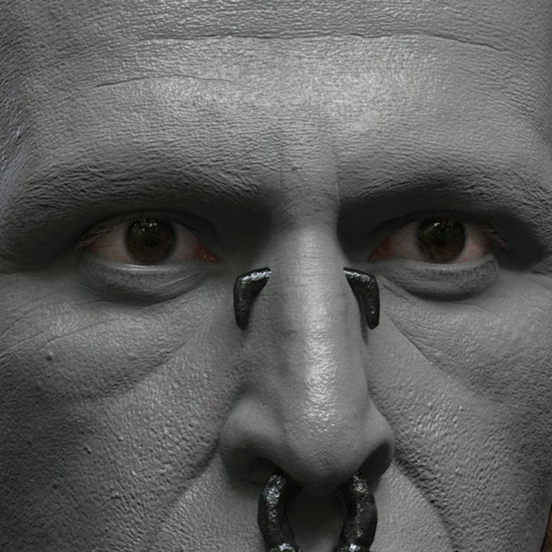 Apocalypto's Middle Eye - Head Clay Render