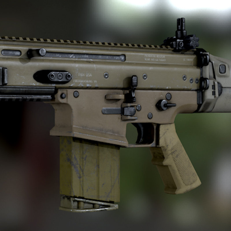 Scar-H Assault Rifle - Low Poly