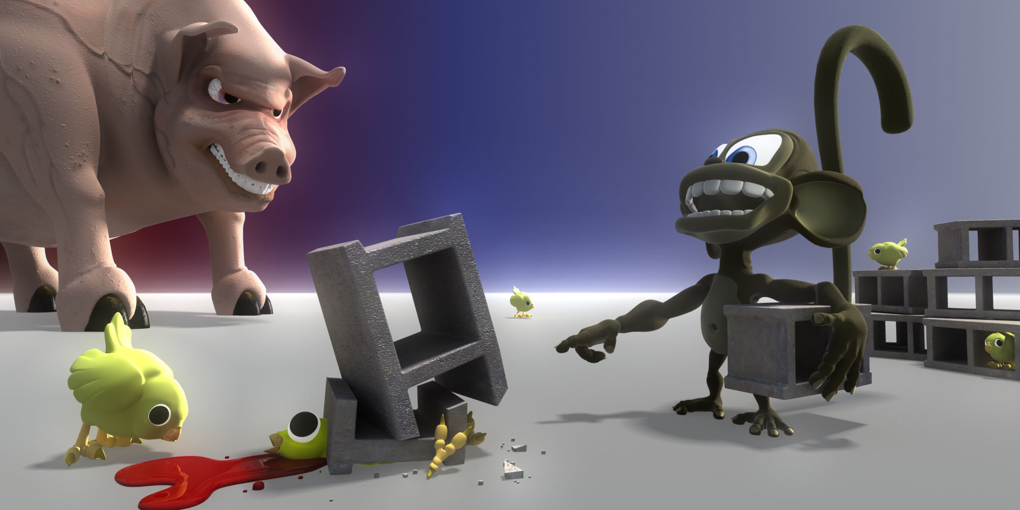 An innocent game of cinder blocks and baby chickens comes to an abrupt end when Monkey kills the evil pig's only friend.
