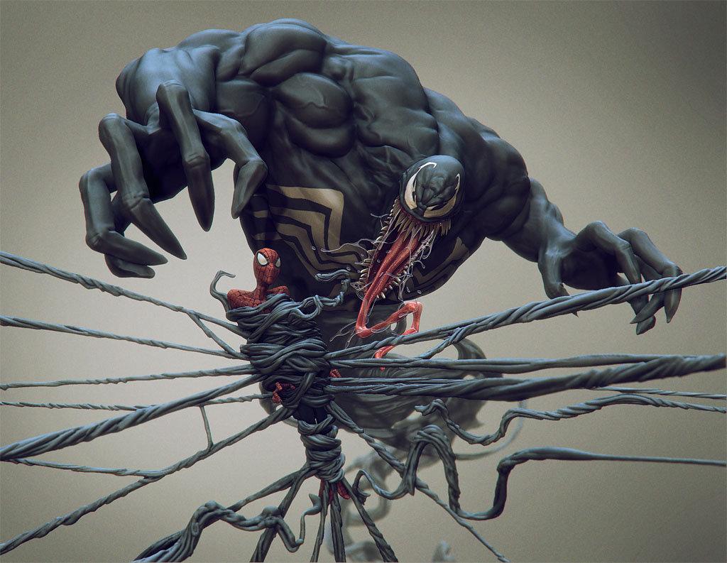 Daniel bystedt venom spider man front render 1k width