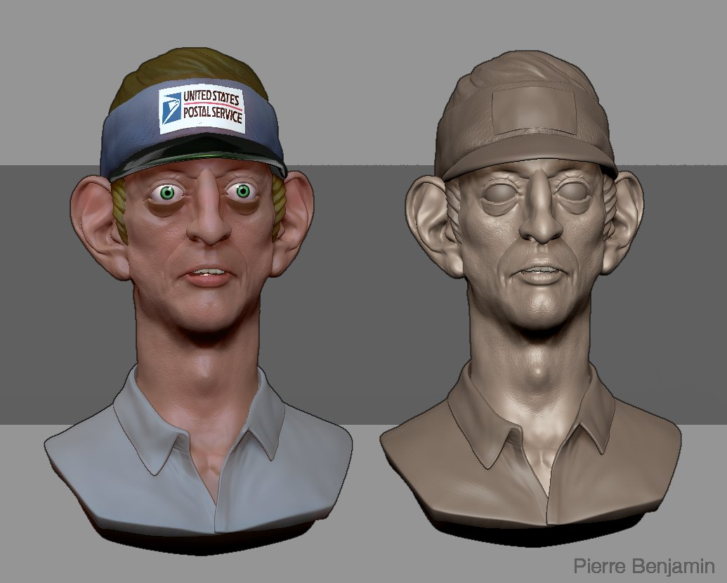 Men in Black character postman brush sculpt