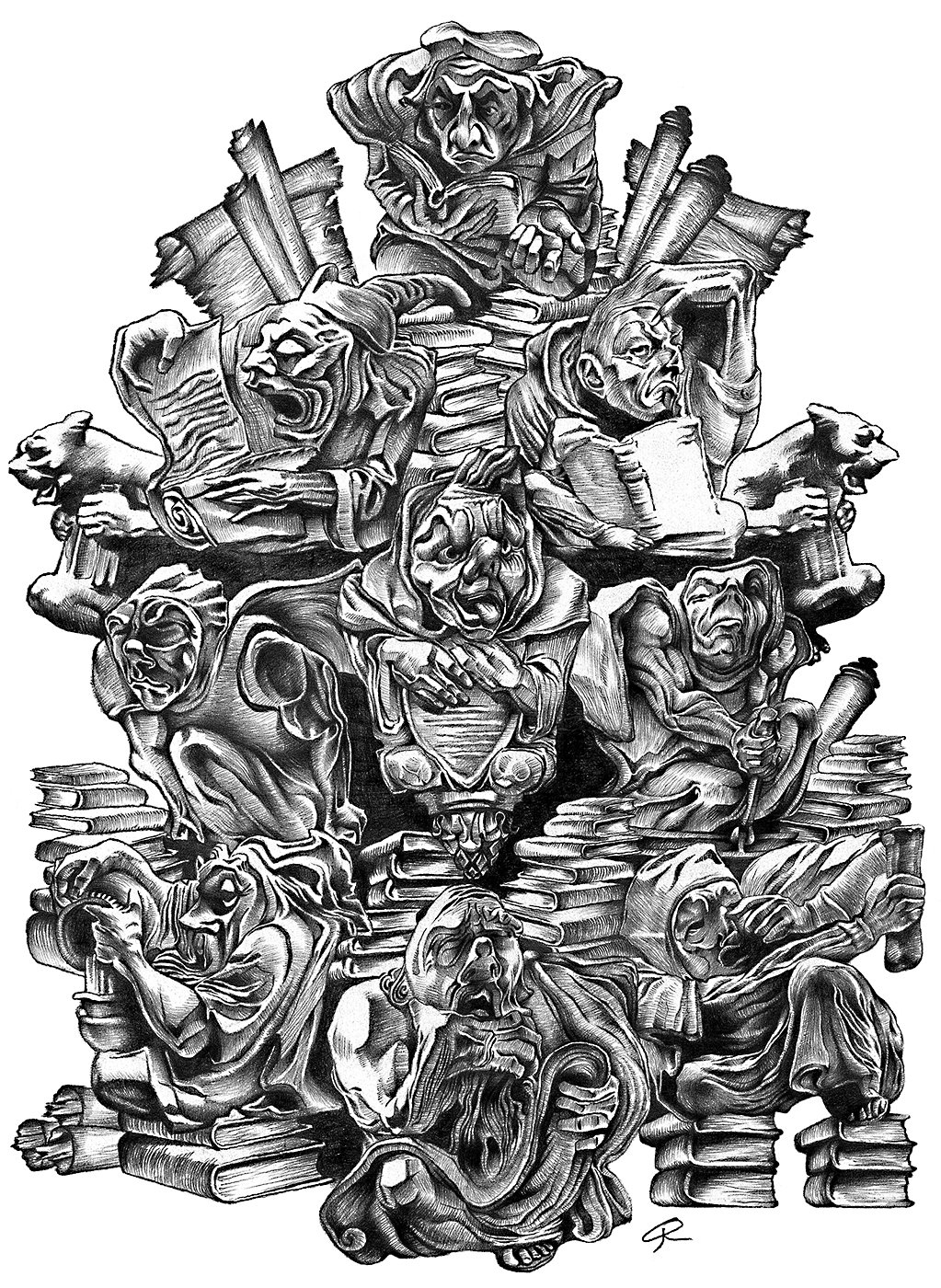 Illustration is completed entirely with a single pencil. It is a depiction of a time period when scientific men sought arcane wisdom, sorcery, and knowledge.