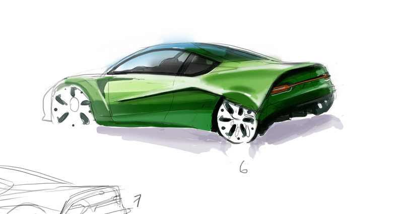 Green car sketch by alex brady tad d5d0rbx