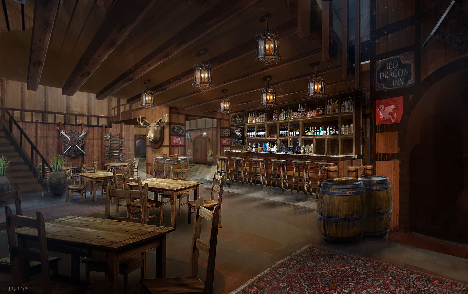 Artstation Tavern Interior Simon Scales