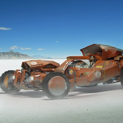Hotrod on salt flats