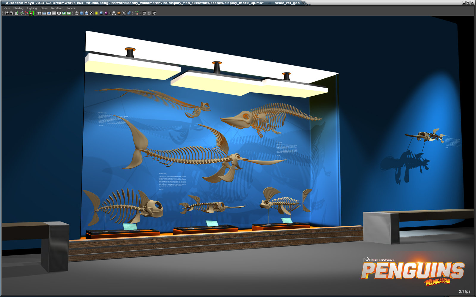 Aquarium Skeleton diorama design (Maya Viewport 2.0)