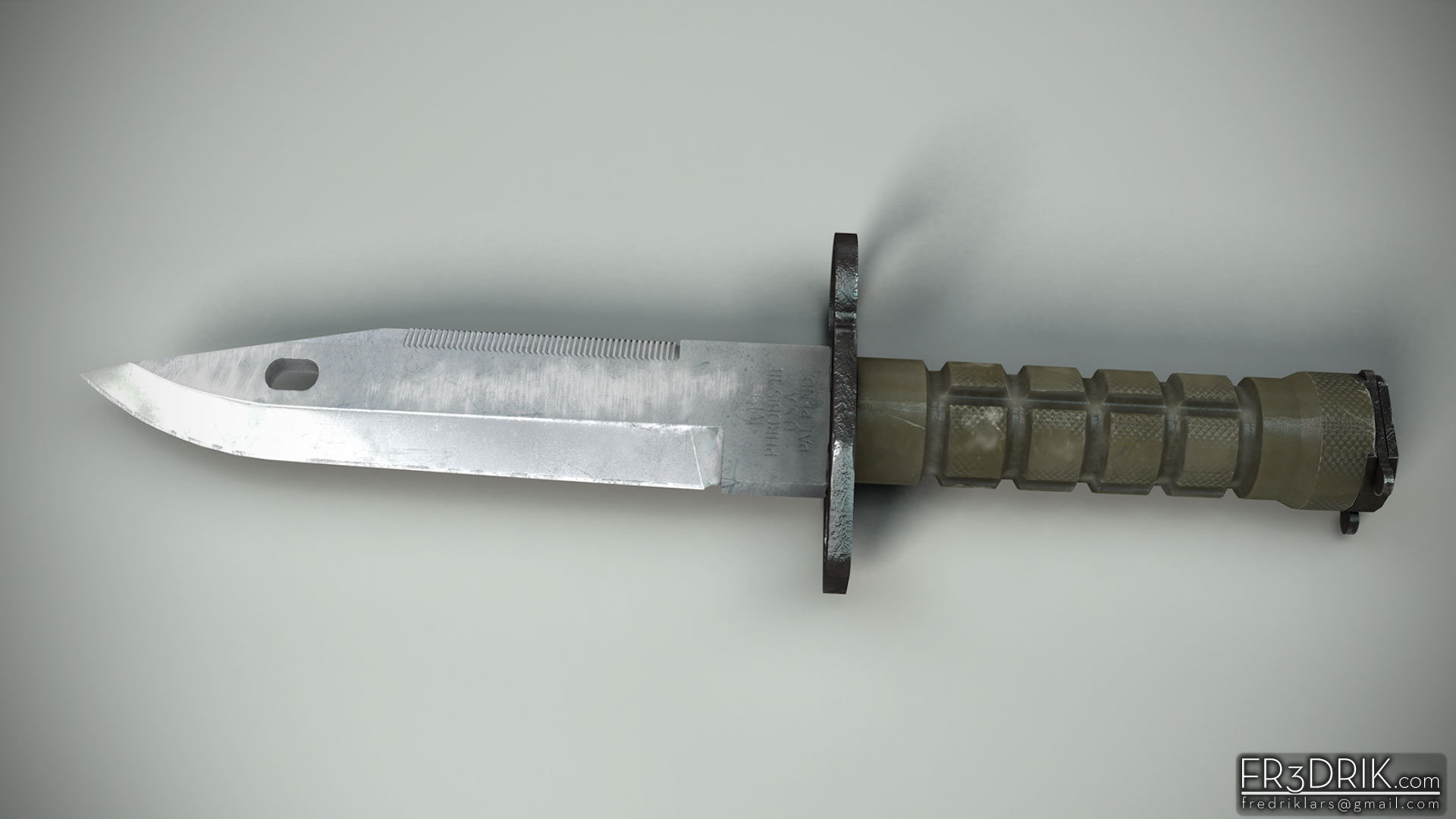 M9 combat knife. Mostly maya modelling with just a small detail pass in zbrush.