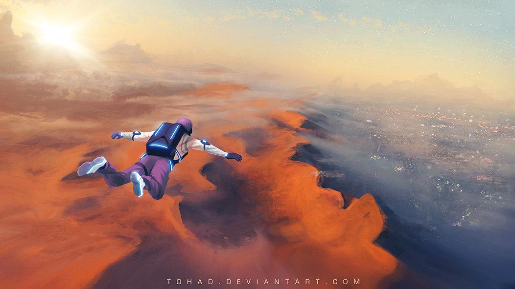 Base jump on Mars