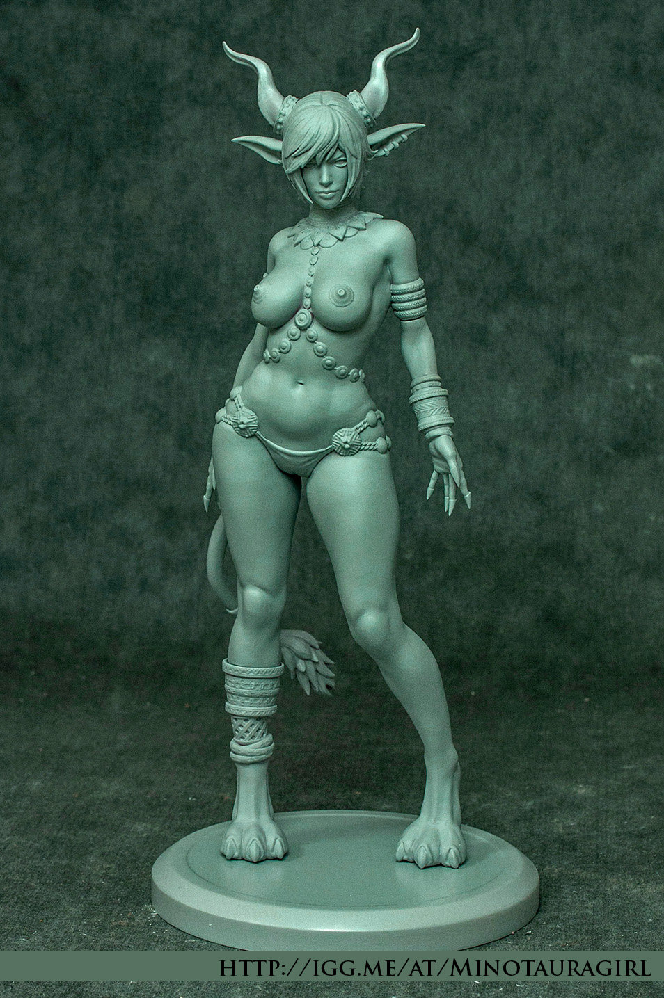 Cast Of Our Figurine, Nipples Are Covered With Golden Plates (See Painted Variant/ Concept Art)