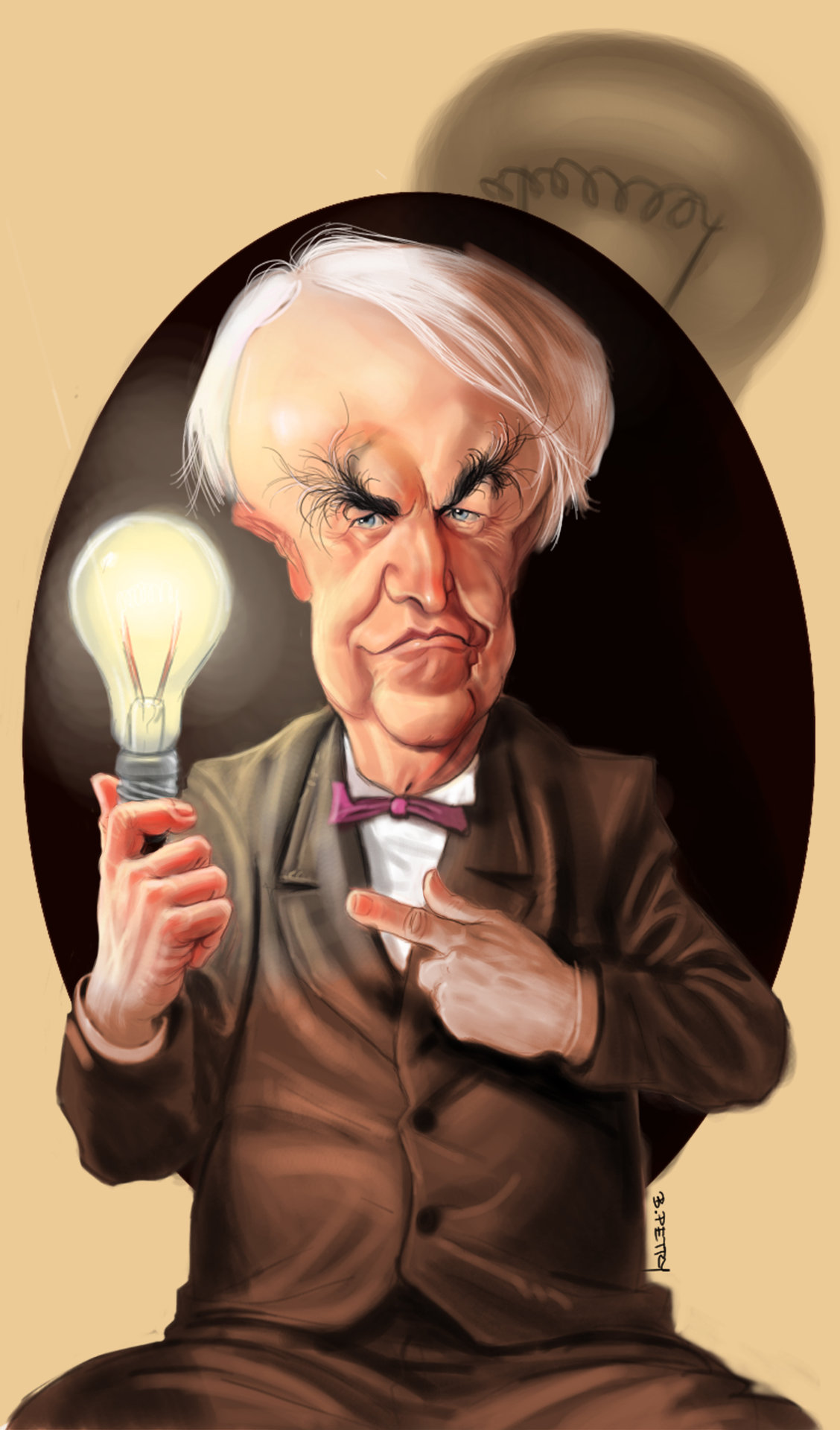 Petry Caricatures Thomas Edison