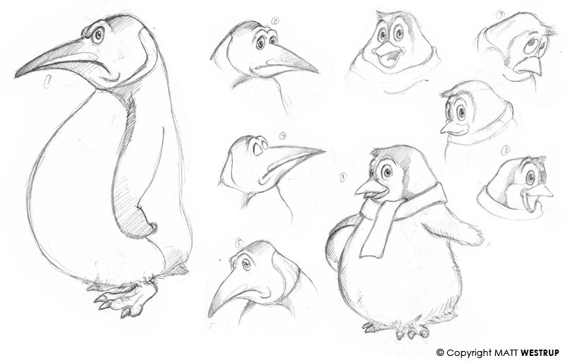 Character ark penguins concept