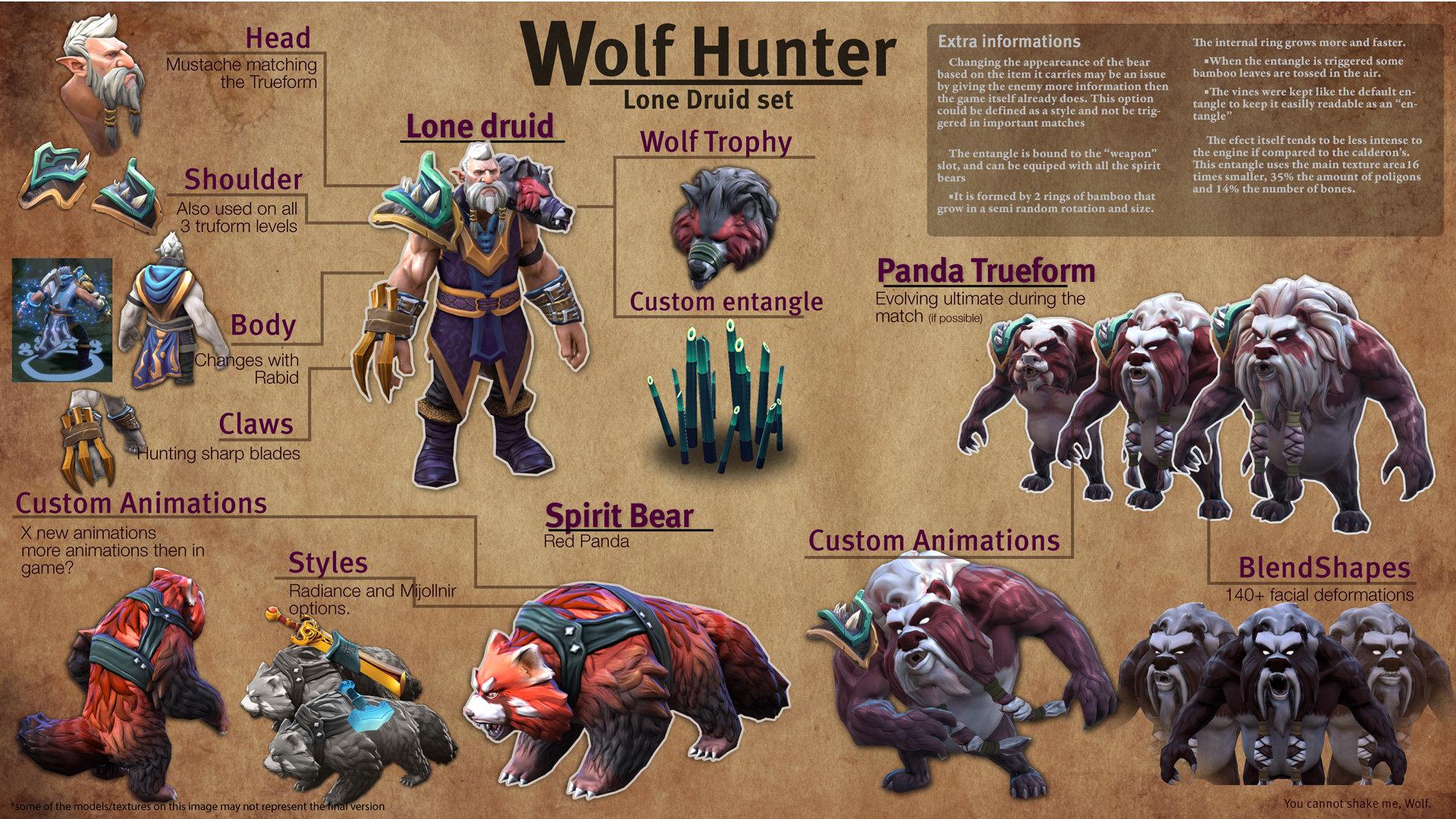 artstation dota 2 wolf hunter lone druid set thiago vidotto