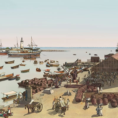 Rocio espin pinar puerto basado en las fotografias de hauser y menet 1880 color