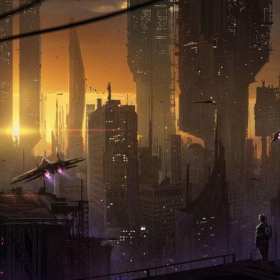 Florent llamas futuritic city sun2
