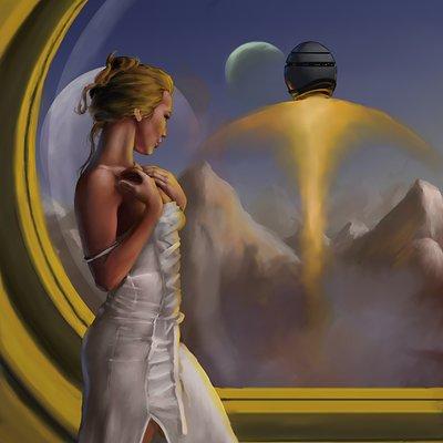 Md jackson woman watching spaceship takeoff