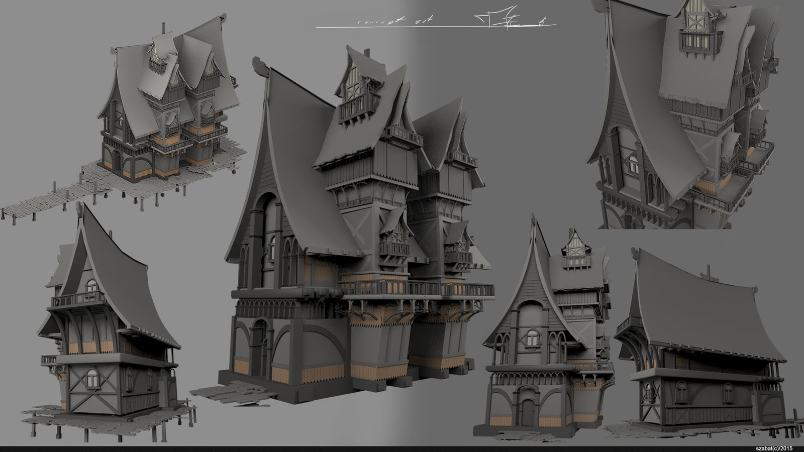 artstation - concept wood house 4, szabat .