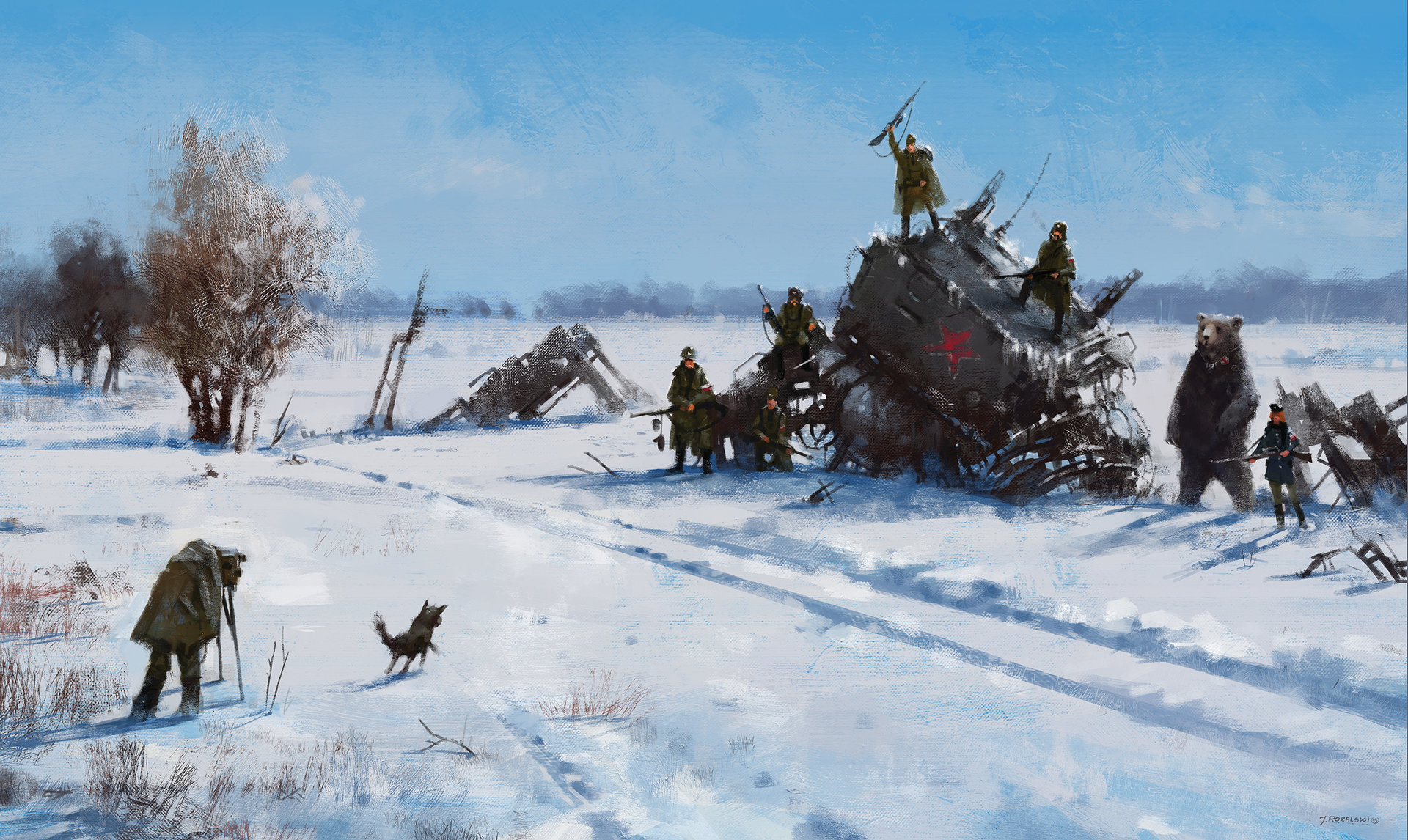 Jakub rozalski 1920 mech on the field 100na70small