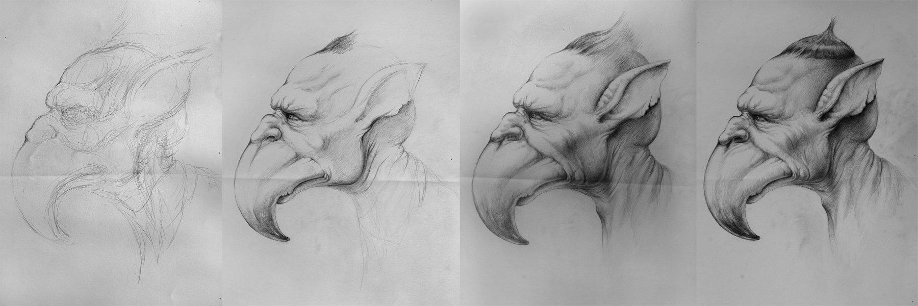 progress of sketching