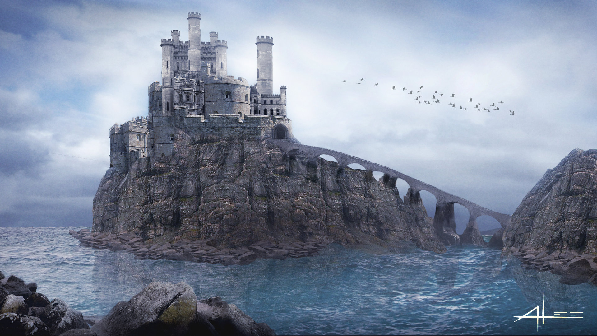 Andy Lee Castle Cliff Matte Painting