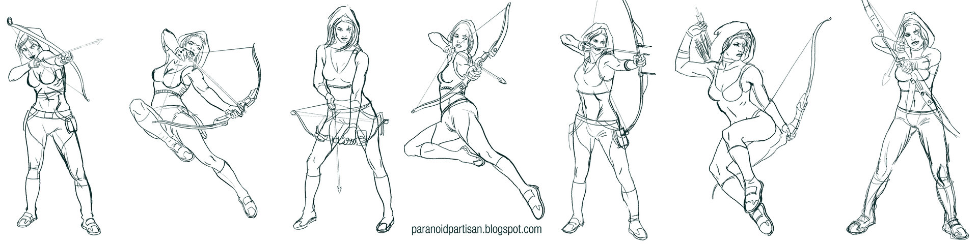 First sketches, looking for the right pose.