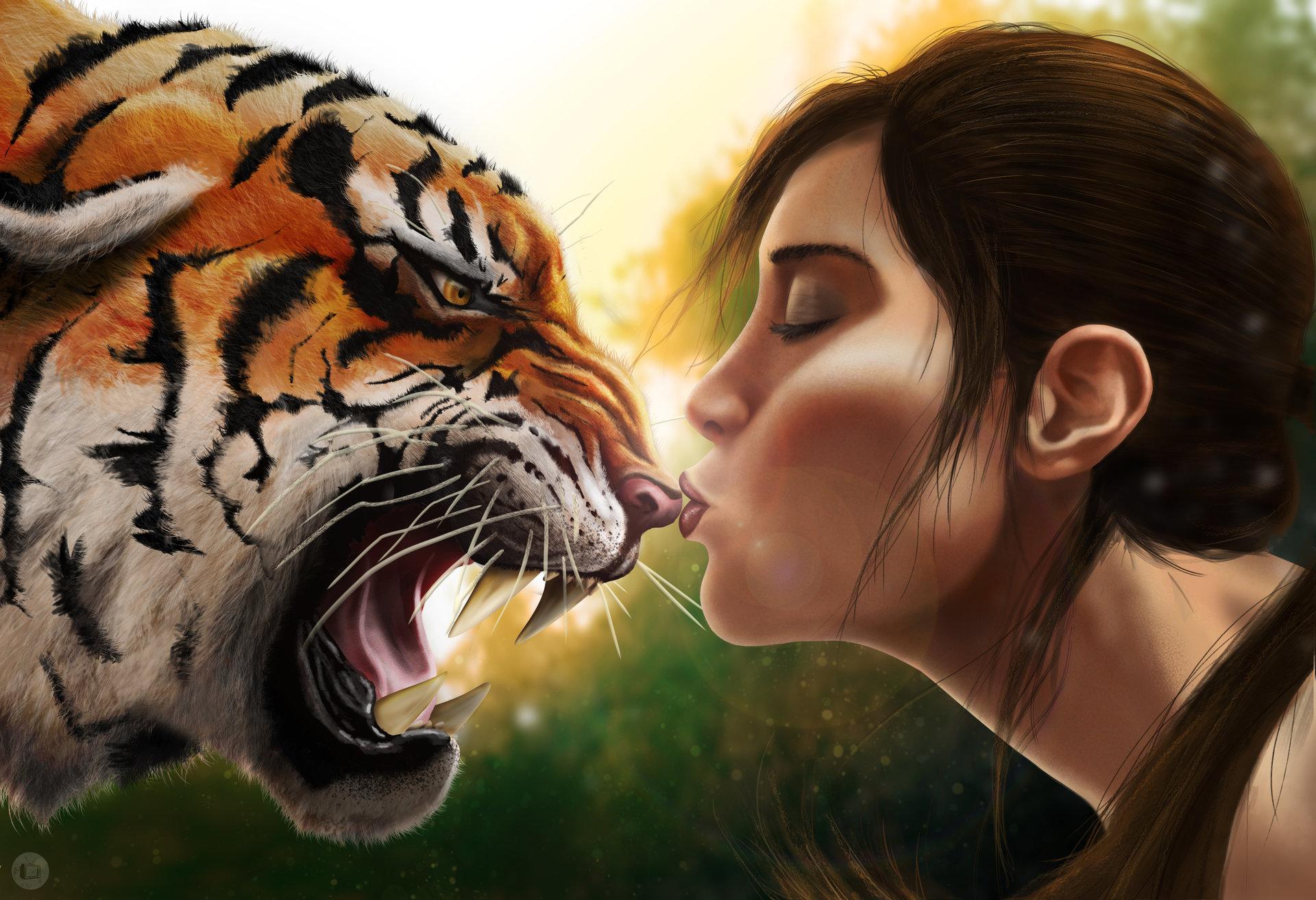 Девушка и тигр открытки