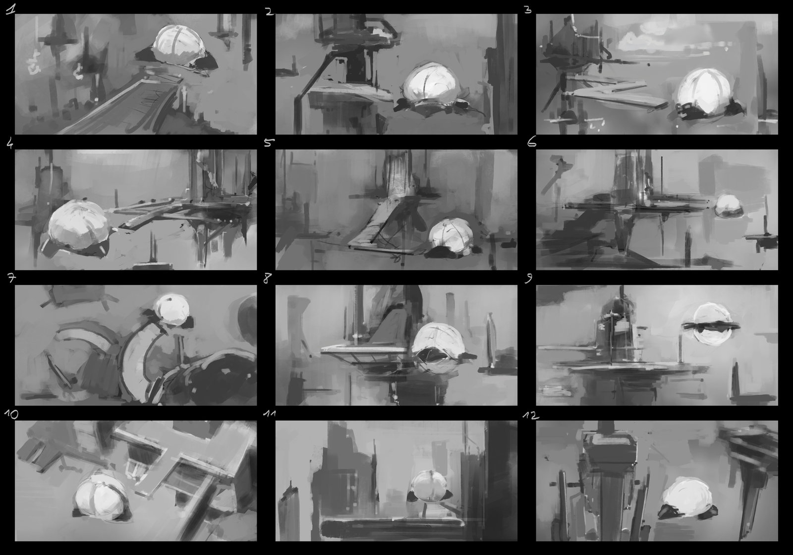 Thumbnails, first options, thought about a sci fi scene.