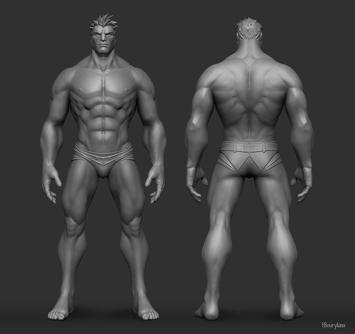 ArtStation - Male Anatomy Study, Yekaterina Bourykina