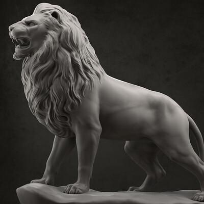 Daniel peteuil 1886 lion statue side