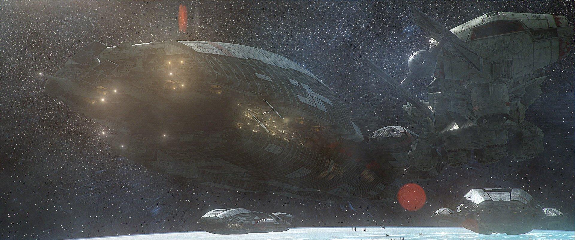 Galactica Model By Lee Stringer, Blockade Runner Model by Wes Chilton, Scott Kingston, and James Hibbert )