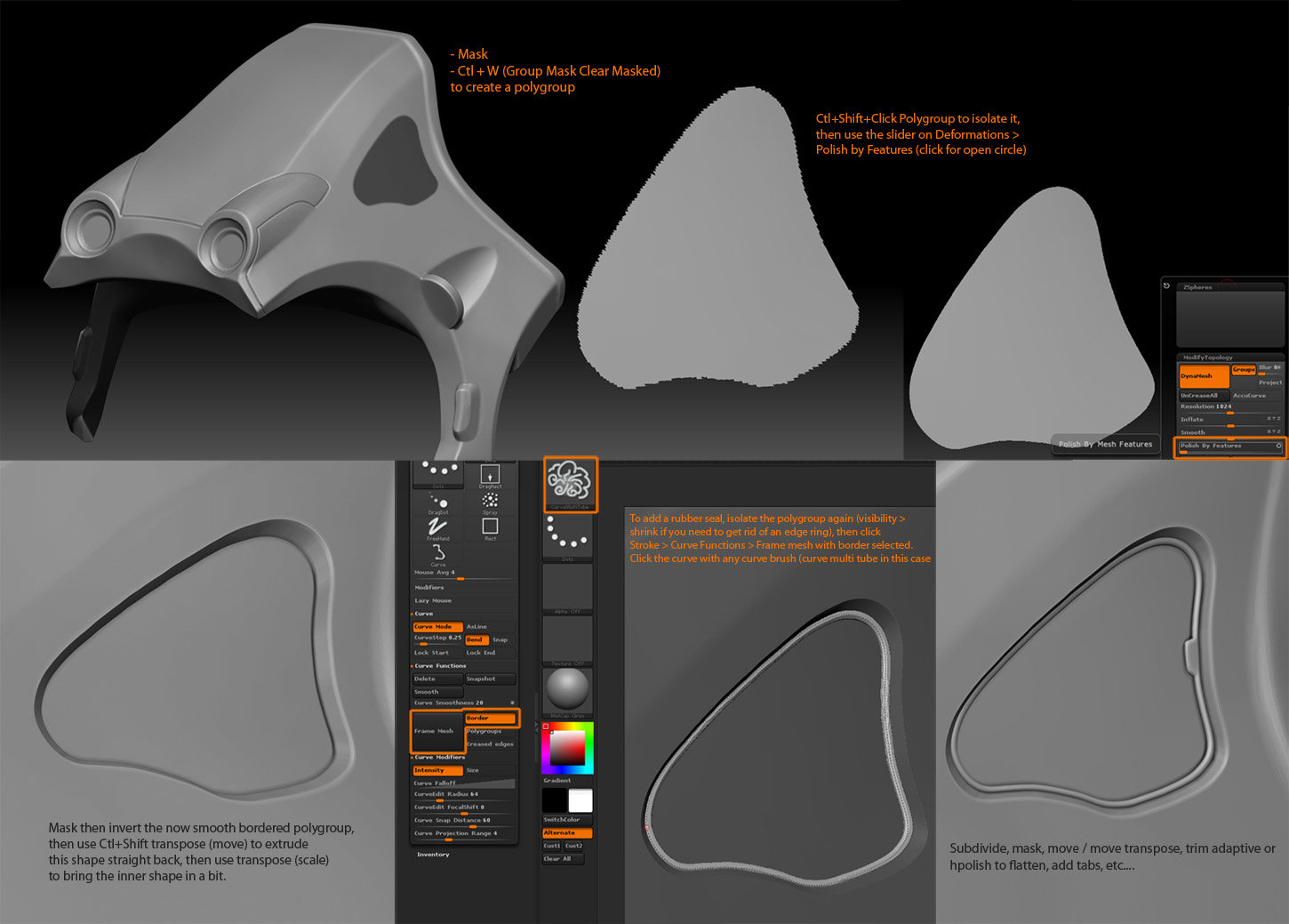 Info on how to put a quick rubber seal using ZBrush