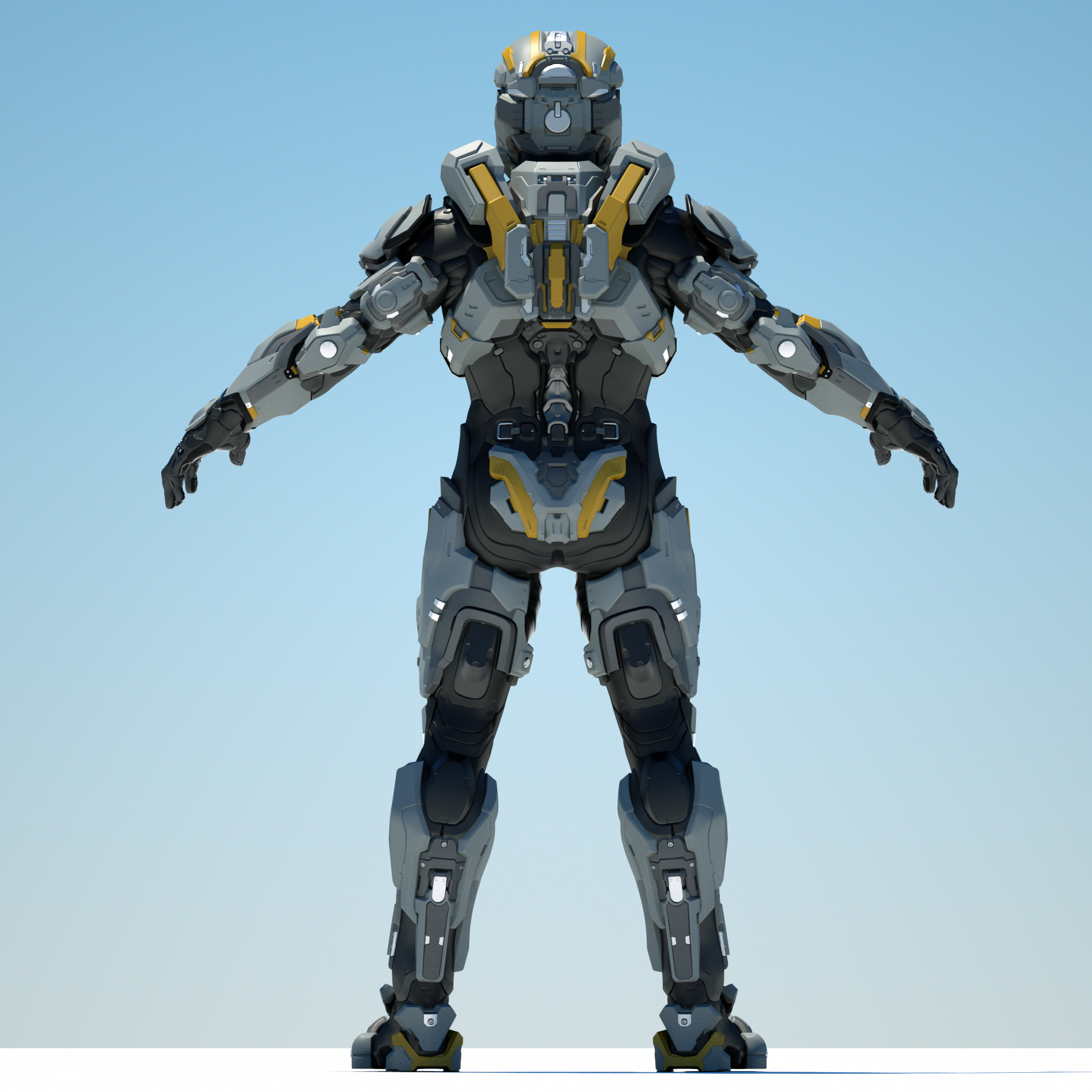 Octane render of one of the MCC: Halo 2 Anniversary Armor sets