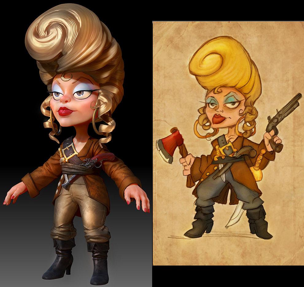 ZBrush render of Bonnie Bigwig, with original concept