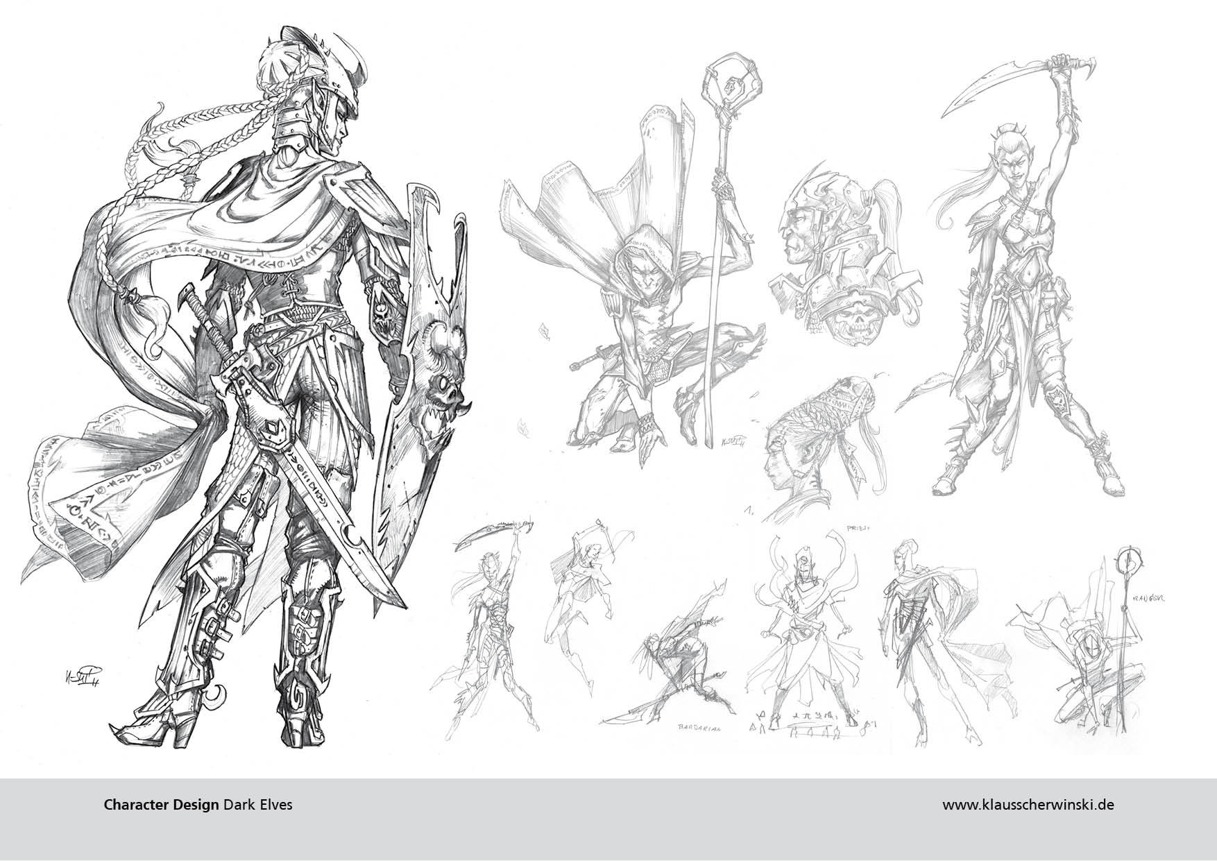 """Pencils for """"Drow"""" illustrations, for the Pathfinder RPG."""