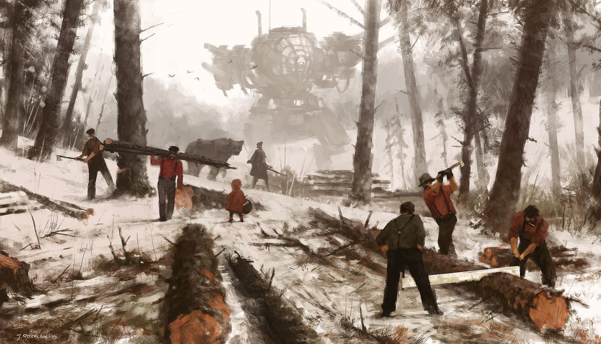 Jakub rozalski 1920 lumbering