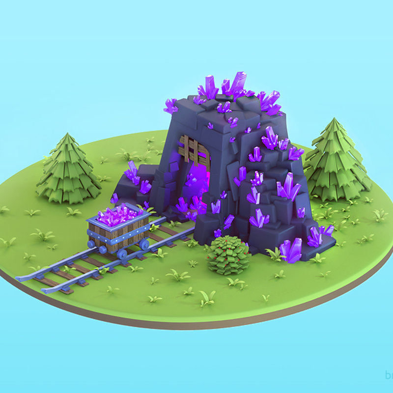3d prerendered Crystal Mine Building for a Mobile game.