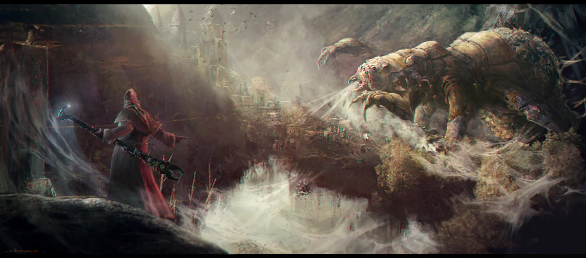 Sebastien ecosse unleash arachnea monter spider wizzard concept art illustration sebastien ecosse