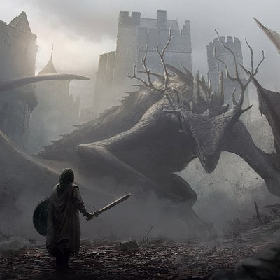 Jan ditlev aproaching a dragon