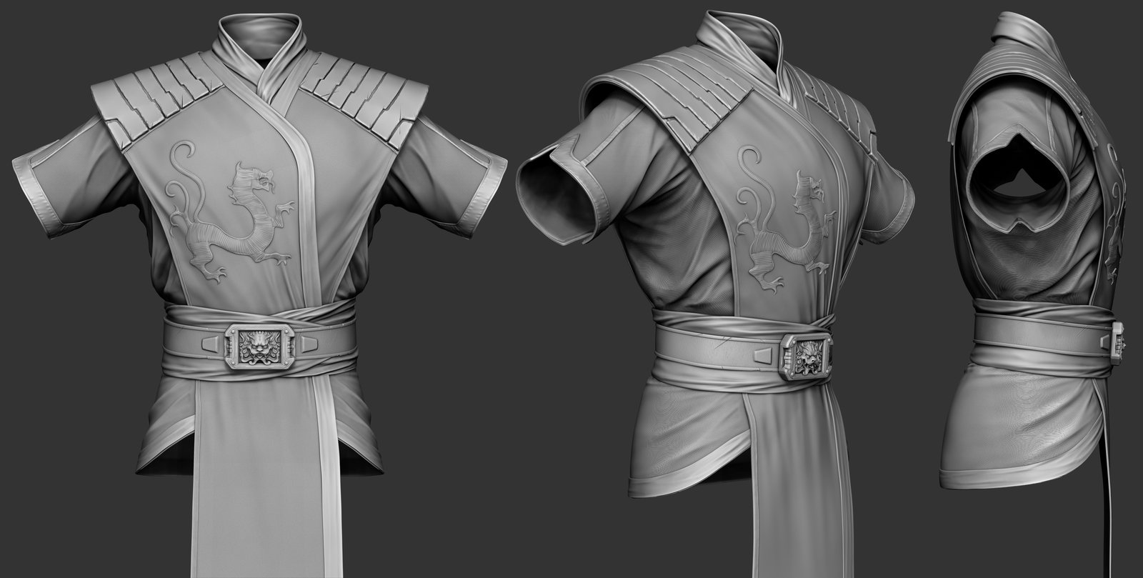 His Kimono, cloth sculpting got easier and easier.