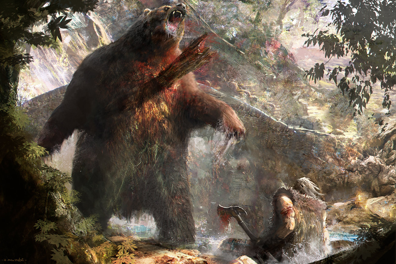 Sebastien ecosse bear grizzly attack warrior scottish ecosse sebastien illustration concept inverse
